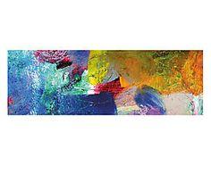 Stampa fine art su canvas con telaio in legno Painted Thought II - 95x33x4 cm