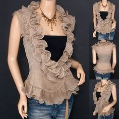 Trendy Khaki Chiffon Tiered Ruffles Crinkles Wrap Sleeveless Shirt Top