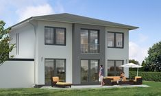 Traumhaus Bauweise Einfammilienhaus Walmdach Terrasse Fassade Grau Weiß #dream #home