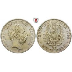Deutsches Kaiserreich, Sachsen, Albert, 2 Mark 1888, E, vz-st, J. 121: Albert 1873-1902. 2 Mark 1888 E. J. 121;… #coins