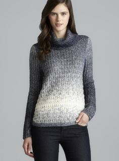 Cowl Neck Drop Shoulder Marled Ombre Knit Top