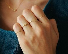 Dainty everyday jewelry with gems and crystals von PositivaJewelry Wire Jewelry Rings, Gold Wire, Etsy, Chevron, Gold Rings, Delicate, Crystals, Bracelets, Things To Do