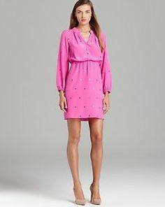 FALL 2013 $278 Lilly Pulitzer 'Turner' S Mambo Pink Shirtdress Sparkle Silk