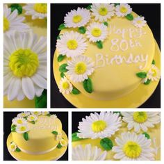 Gerbera daisies birthday cake