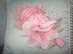 Flower Headband, Baby Headband, Feather Headband, Fabric Flower, Photo Prop, Wedding Headpiece, Special Occasion. $19.95, via Etsy.