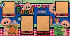 BABY-1st-FOODS-2-premade-scrapbook-pages-paper-piecing-layout-4-album-CHERRY