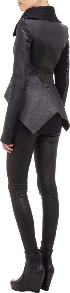 Visions of the Future: Rick Owens Leather & Neoprene Peplum Jacket Dark Fashion, Leather Fashion, Winter Fashion, Grunge Fashion, London Fashion, Moda Outfits, Peplum Jacket, Mode Hijab, Future Fashion