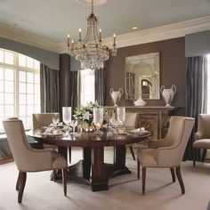 [ Traditional Dining Room Design Ideas Old World Formal Furniture Pedestal Table Upholstered ] - Best Free Home Design Idea & Inspiration Dining Room Buffet, Dining Room Walls, Dining Room Sets, Dining Room Design, Dining Room Furniture, Room Chairs, Wood Furniture, Dining Tables, Dining Area