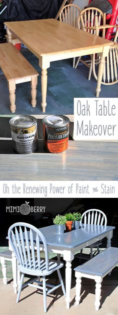 Amazing how beautiful an old boring table and benches can become using Weathered Gray stain and white paint!