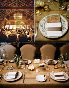 I adore this barn setting for a reception. So romantic and cozy. These picture were taken at Blackberry Farm in Tennessee. Found on Snippet & Ink.