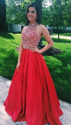 Charming Prom Dress,Halter Beading Prom Drress,Red Party Dress,Long