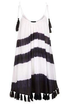 robe tie & dye noir et blanc a pompons noir topshop