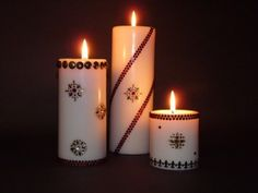 Brighten up any room by decorating your own pillar candles. Great for the holiday season or for next Valentines Day.