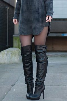 Oversized Sweater + Thigh High Boots