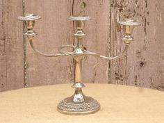 Ornate Vintage Silverplate 3 Candle by ShabbyChicDragonfly on Etsy