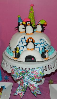 Penguin and Igloo cake at a Winter Wonderland Party