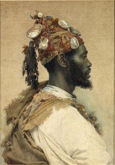 1800s Week! José Tapiró y Baró Portrait of a Moroccan Man Spain (1890) Watercolor, 67.6 X 47.6 cm. Orientalism [source] [source] [source]