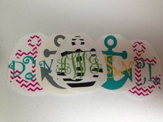 Monogrammed Anchor Decal for Car, Laptop, Tablet - 4 in x 3 in Custom Nautical- love! via Etsy
