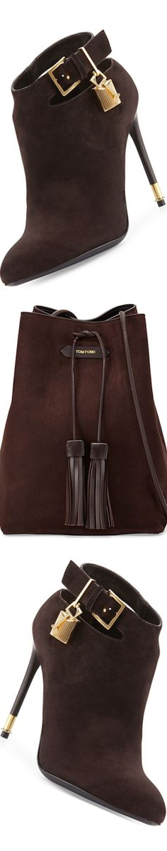 TOM FORD Suede Ankle-Strap Bootie, Dark Brown and Suede Double-Tassel Medium Bucket Bag, Dark Brown