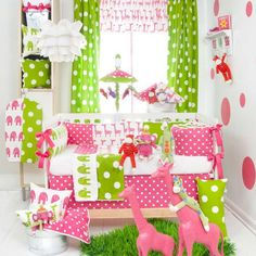 Way too much in the picture, but I love pink and green together; I also love the polka dots!