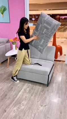 Dining Table In Living Room, Diy Living Room Furniture, House Furniture Design, Home Decor Furniture, Bed Furniture, Furniture Ideas, Corner Sofa Bed With Storage, Corner Sofa Design, Sofa Bed Design