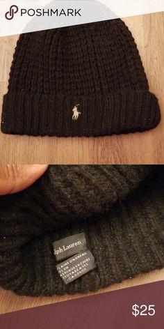 e892a7a25c1 Mens black polo beanie w silver horse Mens black waffle knit polo beanie.  Needs cleaning Polo by Ralph Lauren Accessories Hats