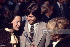 At President Jimmy Carter's Inaugural Ball, American gossip columnist Rona Barrett (born Burstein) (right) interviews Carter's son, Chip (born James Earl Carter III) and his then-wife, Caron (nee Griffith), Washington DC, January 20, 1977.