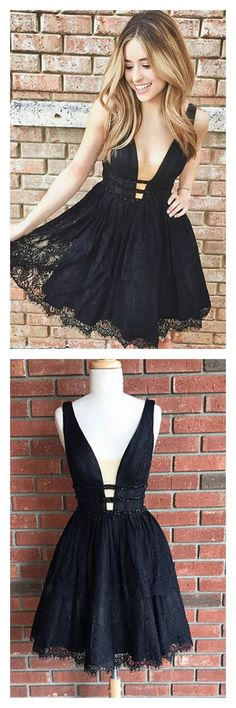 Sexy Black Sleeveless Short Lace Deep-V-Neck Homecoming Dresses