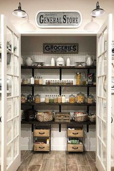 My Pantry GOALS! I love this farmhouse pantry with double doors! I have serious pantry envy going on! simple home diy Farmhouse Kitchen Ideas For a Country Kitchen Remodel on a Budget (PICTURES for Farmhouse Kitchen Decor, Kitchen Remodel, Country Kitchen Farmhouse, Kitchen Design, Farmhouse Kitchen, Country Kitchen, Kitchen Pantry Design, Kitchen, Kitchen On A Budget