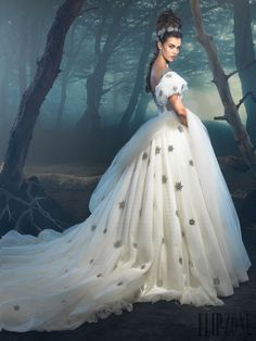 Reminds me of a dress that would be worn by a Disney princess.  Dar Sara - Bridal - 2014 collection