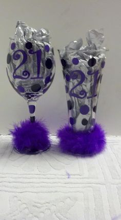 21st Birthday Wine Glass on Etsy. I think i could make something like this!