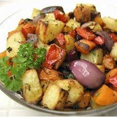 Roasted Vegetables | A casserole dish of seasonal vegetables that is so easy to prepare. It can be made a day ahead - just reheat before serving. Lemon juice can be substituted for balsamic vinegar, and you can use baking potatoes if you don't have any Yukon Golds on hand.