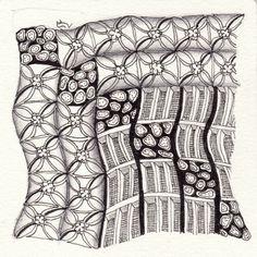 Ein Zentangle aus den Mustern Hastings, Lotus pods, Drained,  gezeichnet von Ela Rieger, CZT