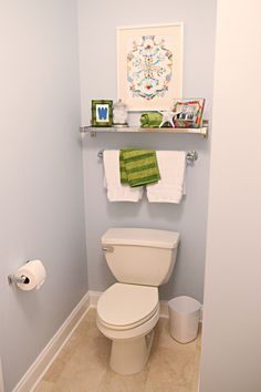 Add shelf & towel rack above toilet in guest bath if we need more storage and space