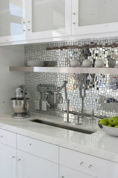 mirror mosaic Kitchen Backsplash Idea