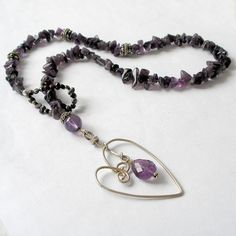Amethyst Lariat Necklace Sterling Silver Heart Purple by Foret