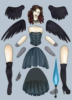 Dark Angel Jointed Paper Doll Kit