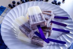 Summer Recipe: Blueberry Lemon Popsicles-switch regular yogurt for coconut yogurt to make Paleo friendly.