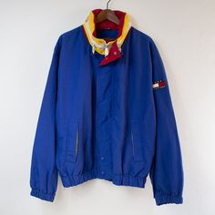 Vintage 90's Tommy Hilfiger Blue/Yellow/Red Colorblock Hooded Jacket - (XL)