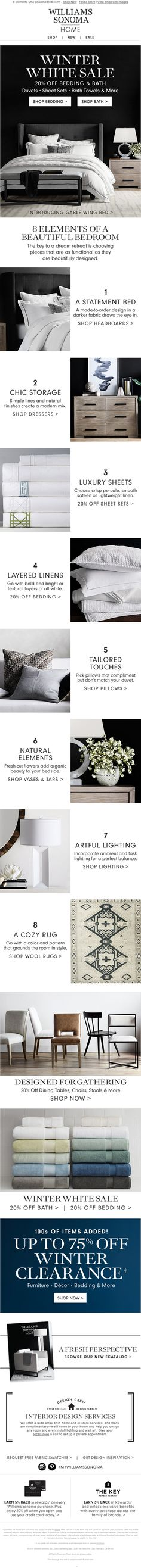 8 Elements of a Beautiful Bedroom Html Email Design, Email Web, Email Design Inspiration, Email Campaign, Email Templates, Beautiful Bedrooms, Email Marketing, Edm, Web Design