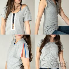 Perfect for transforming boxy or dated t-shirts into cool, trendy tops that T-shirt Refashion, Diy Clothes Refashion, Diy Upcycled Shirts, Upcycled Clothing, Umgestaltete Shirts, Rock Shirts, Diy Clothes Alterations, Diy Clothes Videos, Altering Clothes