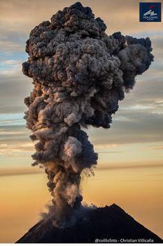 Volcano Colima eruption