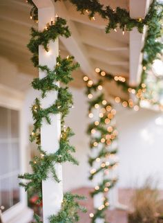 Garland and lights intertwined: http://www.stylemepretty.com/living/2016/12/01/now-this-is-how-you-throw-an-apres-ski-shindig/ Photography; Rebecca Yale - http://rebeccayalephotography.com/