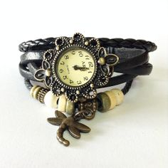 Wrap Watch , Vintage Style, Charm Leather Watch, Women Watches, Beaded Watch, Dragonfly Charm, Black