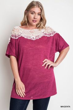 Berrylicious Top - Pretty yet not too formal, this curvy top features a lace detail and a softness of a vintage tee, and looks great when paired with jeans, dress pants or leggings.  Available: XL-1X-2X - $42
