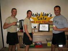http://www.ucc.org/justice/coffee-project/holy-joes-cafe.html Here is a link on the UCC sitefor the Holy Joe's Cafe coffee project, a coffee house ministry to soldiers serving in Iraq and Afghanistan. This originated from the First Congregational Church in Wallingford CT http://www.firstchurchwlfd.org/Holy%20Joes%20Cafe.html, and its simple…