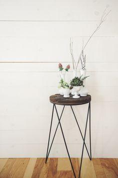 White Vintage Vases. Florals. Flowers make me smile. Shiplap. Hardwoods. Makayla Rae Photography.
