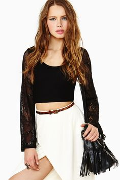 Stevie Lace Crop Top - Black in Clothes Tops Cropped at Nasty Gal