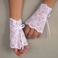 Lace bridal wrist cuffs elastic fingerless by MammaMiaBridal, $24.00