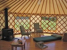 Inside a standard size yurt....looking comfy